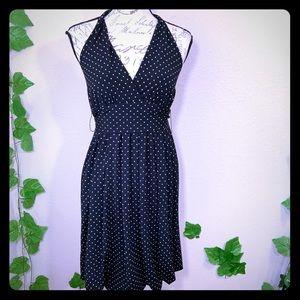 BCBG Maxazria Black Polkadot Bubble Hem Dress
